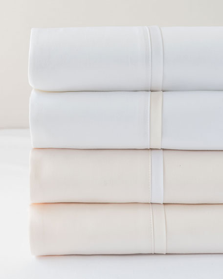 Estate Pair of King Pillowcases, White/White
