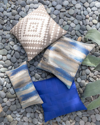 Painterly Mediterranean Sunbrella Pillow  Blue  and Matching Items