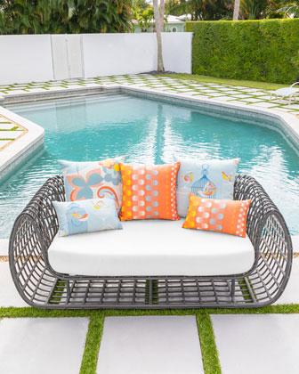 Birds Cages Lumbar Sunbrella Pillow  and Matching Items