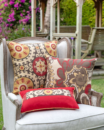 Suzani Sun Lumbar Sunbrella Pillow  and Matching Items