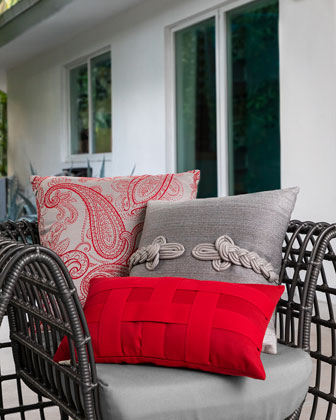 Textured Lumbar Sunbrella Pillow  Smoke  and Matching Items