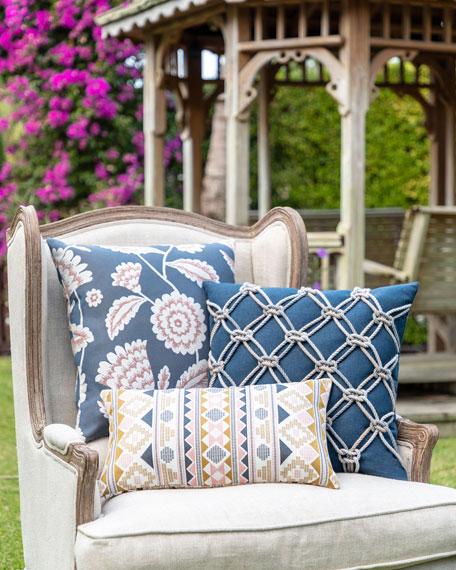 Floral Vine Sunbrella Pillow, Indigo