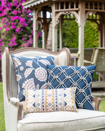 Floral Vine Sunbrella Pillow  Indigo  and Matching Items