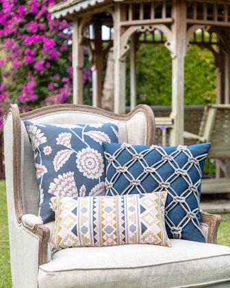 Floral Vine Sunbrella Pillow  Indigo  and Matching Items
