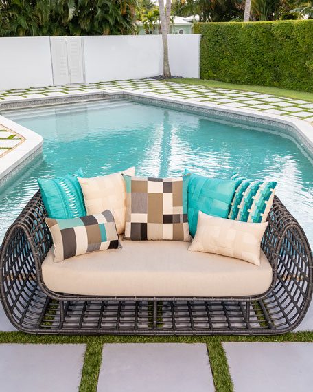 Basketweave Sunbrella Pillow, Turquoise