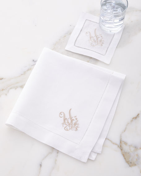 Initial Monogram Cocktail Napkins, Set of 6