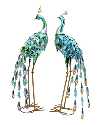 22 Metallic Painted Peacocks  Set of 2 and Matching Items