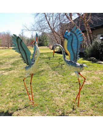 Large Distressed Dancing Cranes  Set of 2 and Matching Items