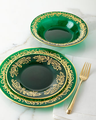Hand Painted Holiday Soup Plates  Set of 4  and Matching Items