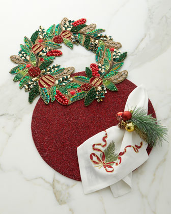Christmas Sprig Napkin Ring  and Matching Items