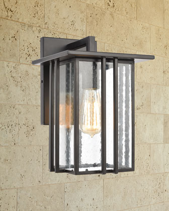 Radnor 1-Light Outdoor Sconce  in Matte Black with Seedy Glass and Matching Items