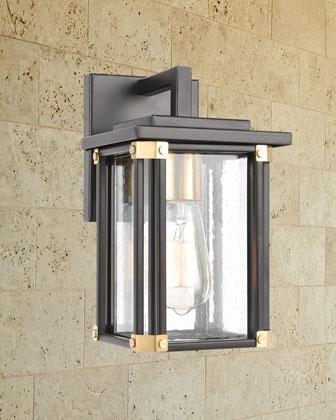 Vincentown 1-Light Outdoor Sconce  in Matte Black with Seedy Glass and Matching Items