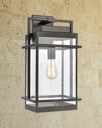Breckenridge 1-Light Outdoor Sconce in Matte Black with Seedy Glass and Matching Items