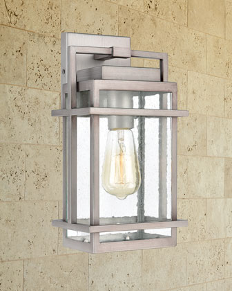 Breckenridge 1-Light Outdoor Sconce in Weathered Zinc with Seedy Glass and Matching Items
