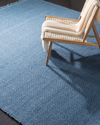 Amalie Blue Hand-Woven Flat Weave Rug  4' x 6' and Matching Items