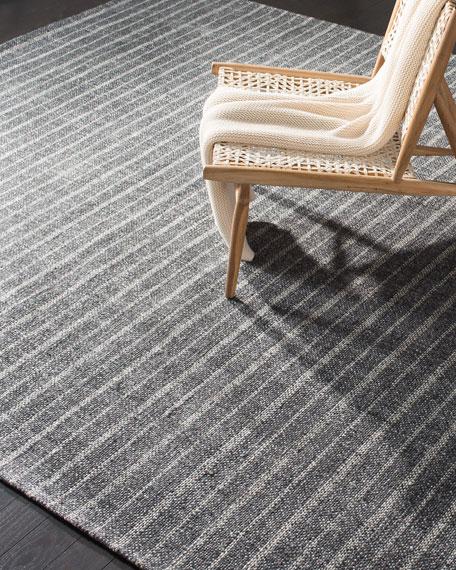 Miles Charcoal Stripe Flat Weave Rug, 4' x 6'