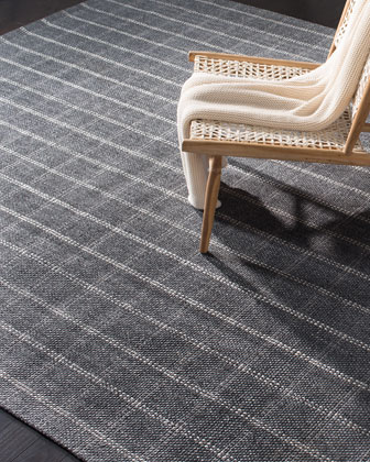Tamworth Charcoal Check Hand-Woven Rug  5' x 8'