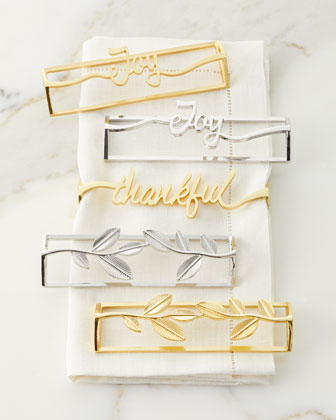 Leaf Gold Napkin Rings  Set of 4  and Matching Items