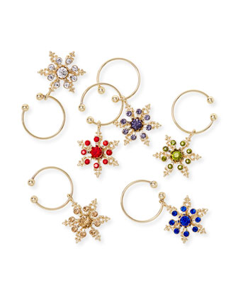 Snowflake Wine Charms  Set of 6  and Matching Items