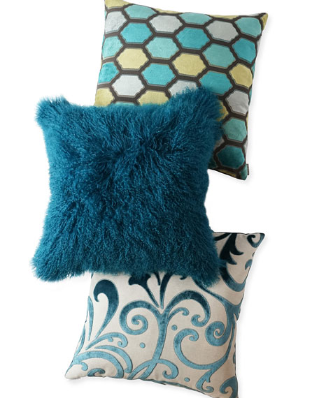 Teal Tibetan Lamb Pillow