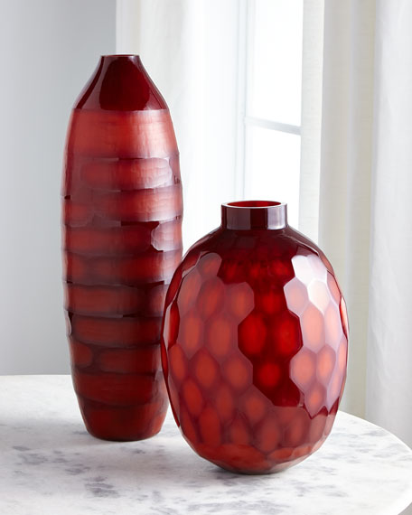 Ruby Red Etched Glass Vase I