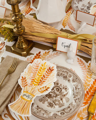 Golden Harvest Paper Table Setting Decor Collection  and Matching Items