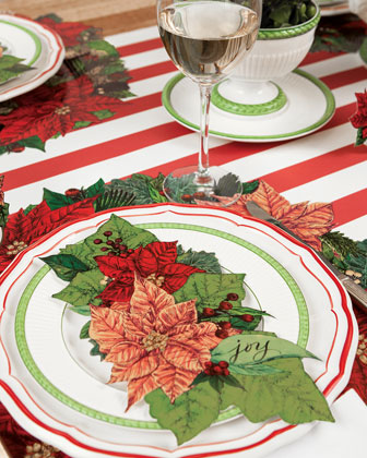 Poinsettia Paper Table Setting Decor Collection  and Matching Items
