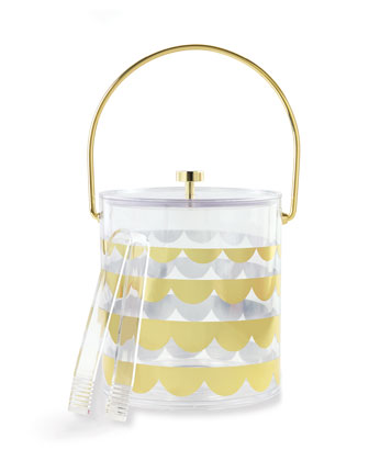 gold scallop acrylic ice bucket  and Matching Items