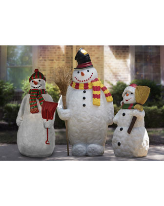 Live Form Snowman with Scarf  Hat & Broom Outdoor Christmas Decoration  48 and Matching Items