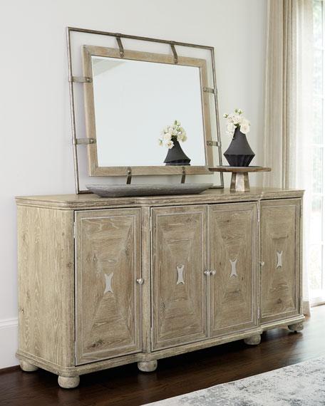 Rustic Patina Iron And Oak Mirror