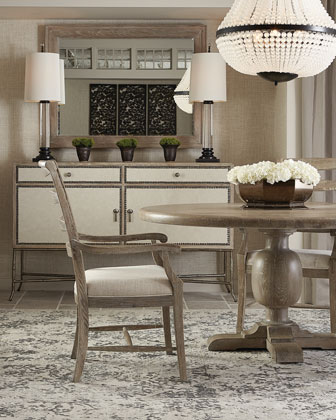 Rustic Patina Knotty Oak Round Dining Table and Matching Items