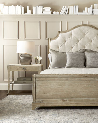 Rustic Patina Button Tufted Sleigh Bed - King and Matching Items