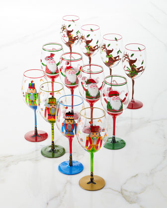 Hand-Painted Santa Wine Glasses  Set of 4  and Matching Items