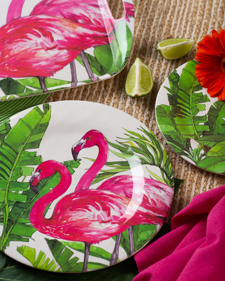 Flamingo Tropics Shatter-Resistant Bamboo Dinner Plates, Set of 4