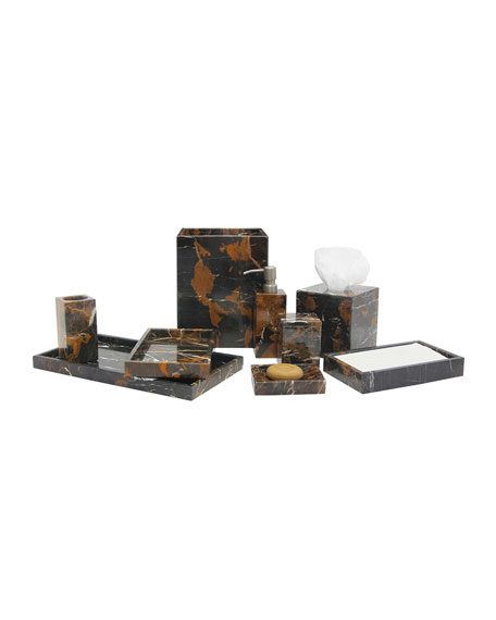 Myrtus Collection Black & Gold Marble Large Vanity Tray