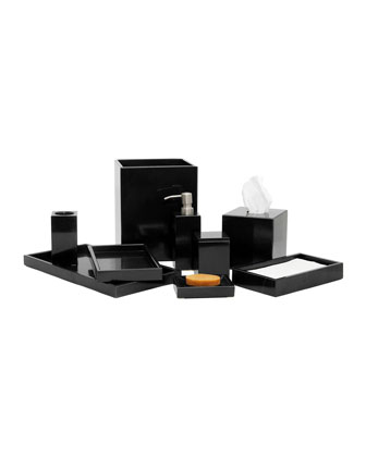 Myrtus Collection Jet Black Marble Wastebasket w/ Liner and Matching Items