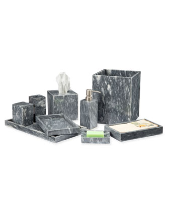 Myrtus Collection Square Cloud Gray Marble Soap Dispenser and Matching Items