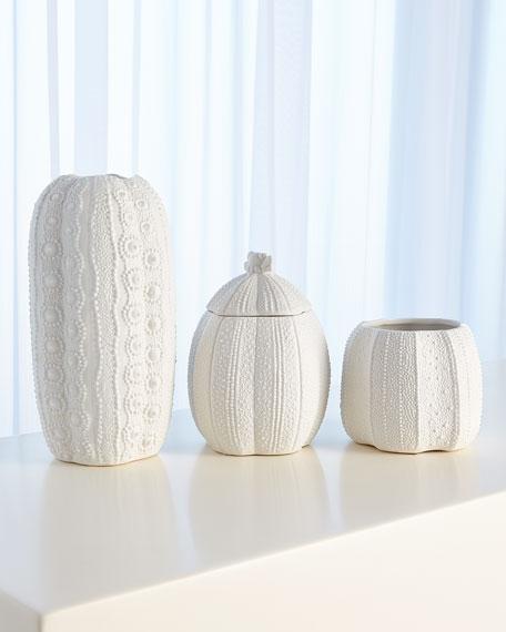 Urchin Short Bisque White Vase