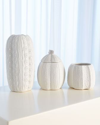 Urchin Short Bisque White Vase  and Matching Items