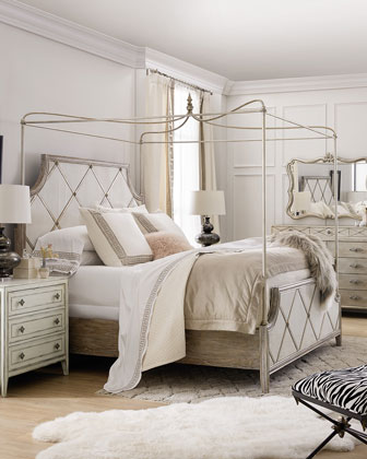 Diamont King Canopy Panel Bed  and Matching Items