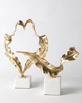 Large Brass Leaf Sculpture  and Matching Items