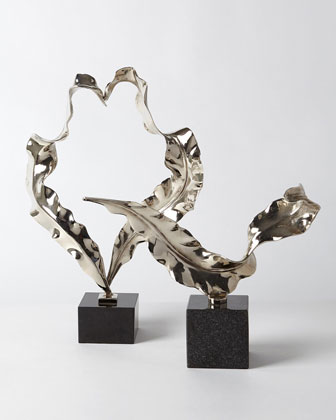 Large Nickel Leaf Sculpture  and Matching Items