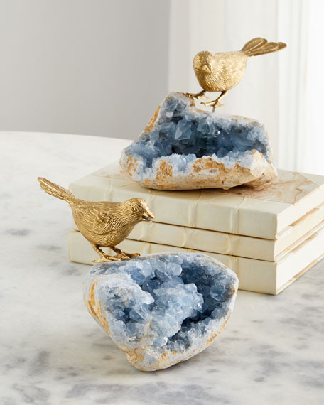 Bird On Celestite Rock II Decorative Accent