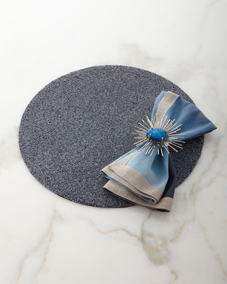 Dip-Dye Linen Napkin, Navy/Blue