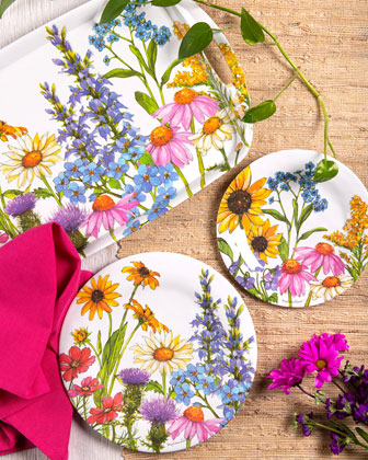 Wildflowers Shatter-Resistant Bamboo Dinner Plates  Set of 4  and Matching Items