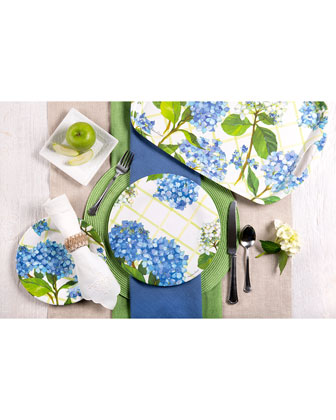 Hydrangea Lattice Shatter-Resistant Bamboo Dinner Plates  Set of 4  and Matching Items