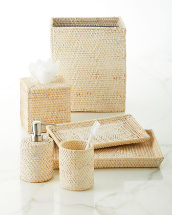 Dalton Whitewashed Rattan Soap Pump  and Matching Items