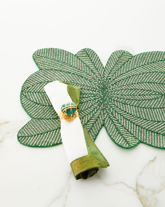 Green Shimmer Bordered Napkin  and Matching Items