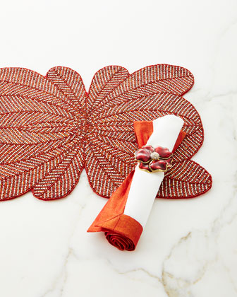 Red Shimmer Bordered Napkin  and Matching Items