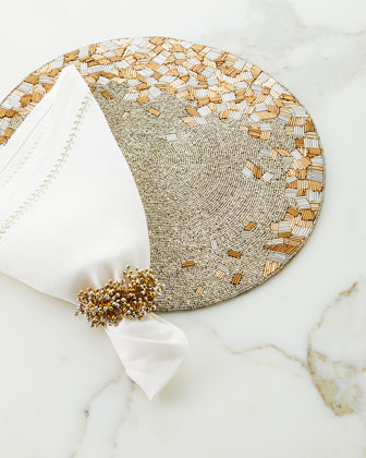 Silver/Gold Herringbone Napkin and Matching Items